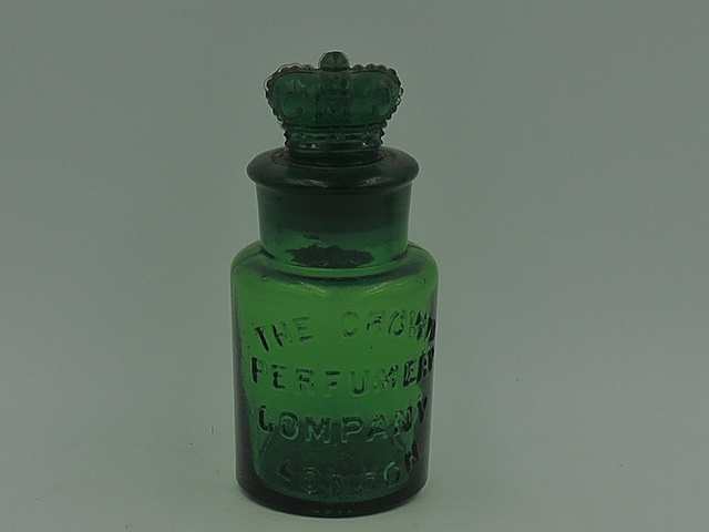 Antique Green Glass The Crown Perfumery Company London Bottle w/Stopper