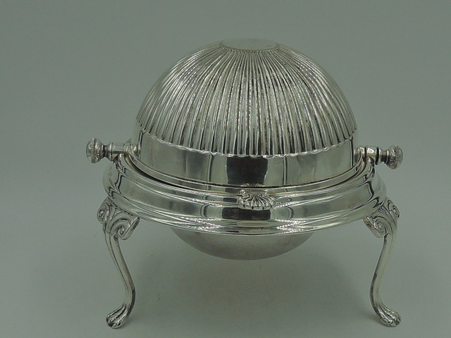 Vintage English Sheffield Silverplate Round Domed Butter Dish Claw Feet Silver