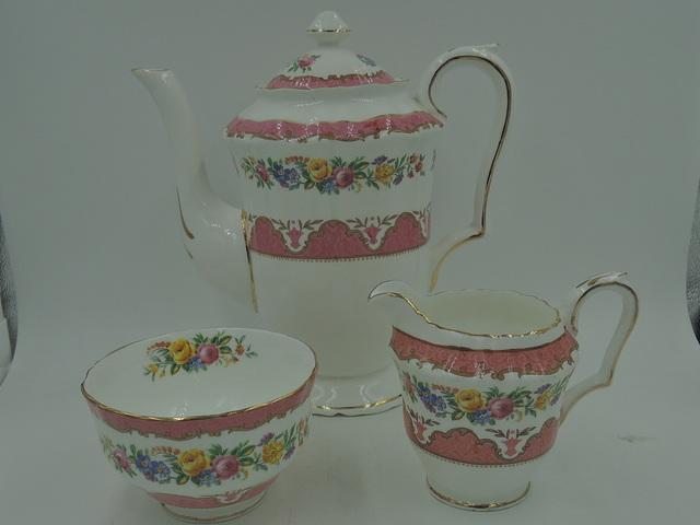 Crown Staffordshire Pink Lyric Tunis Tea Set Teapot/Coffee Pot Roses