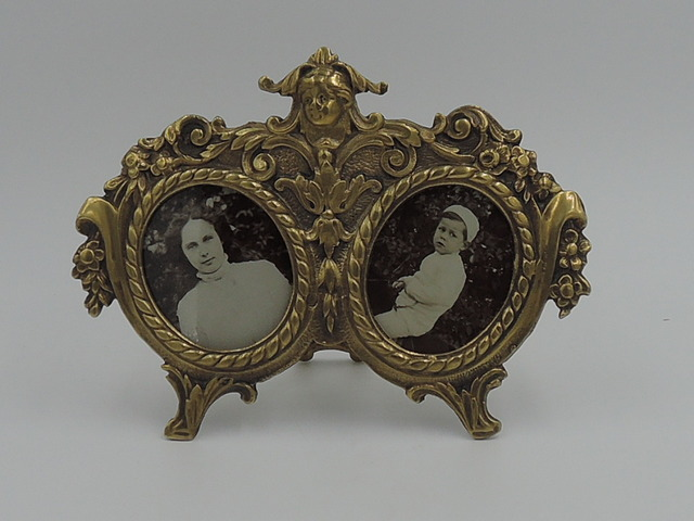 Antique French Bronze Double Photo Frame Portrait Pictures