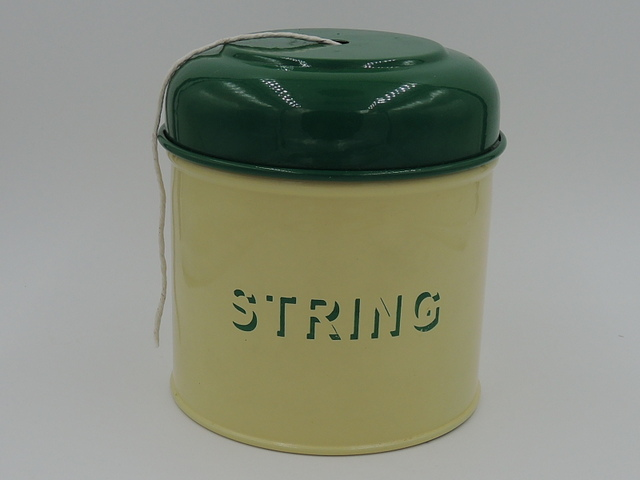 Vintage English Cream & Green Enamel String Holder Cannister Enamelware