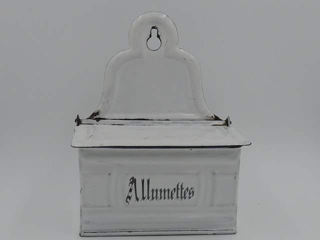 Vintage French Enamelware Allumettes Match Box Holder Enamel 1930's