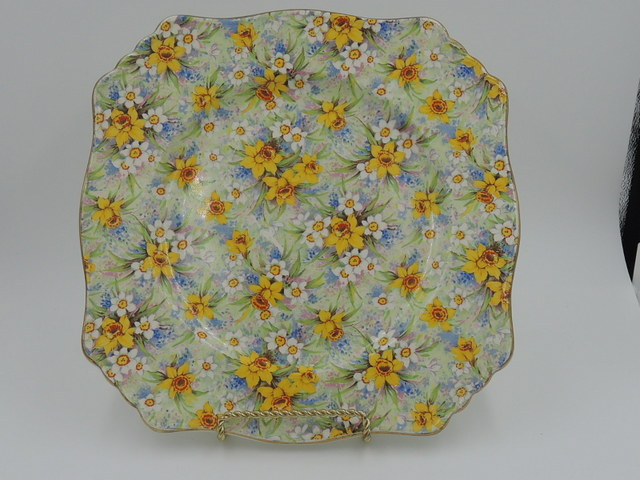 "Vintage Royal Winton Chintz Richmond 8.75"" Square Dinner Plate 1930's"