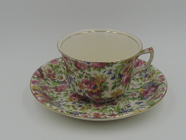Vintage Royal Winton Chintz Summertime Cup & Saucer Teacup 1930's