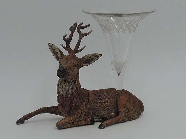 Antique Victorian Metal Recumbent Stag/Deer Glass Epergne Vase 1880's