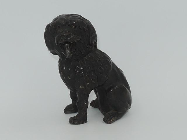 19th C. Antique Bronze English Spaniel Dog Pocket Watch Fob Holder Figurine