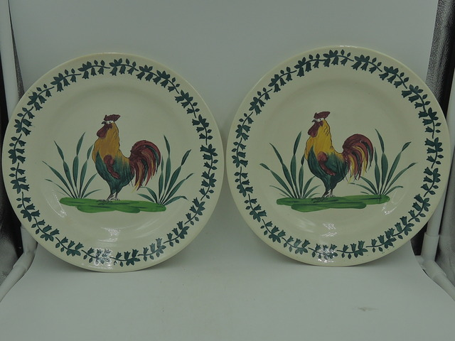 """Antique Pair Rooster Hen Portugal 8.5"""" Plates Sacavem Gilman"""
