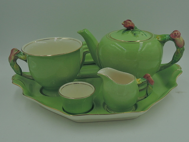 Vintage Royal Winton Green Rosebud Breakfast Set Teapot Tea For One