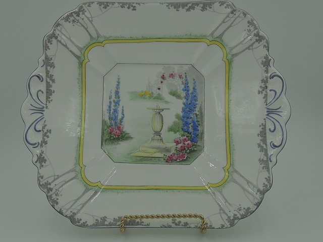 Vintage Shelley Sundial Archway of Roses Handled Plate Dish