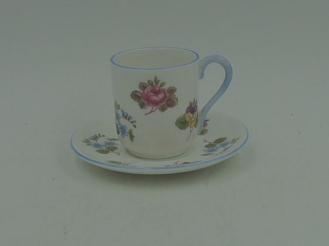 Vintage Shelley Miniature Cup & Saucer Pink Roses Pansies Blue Handle