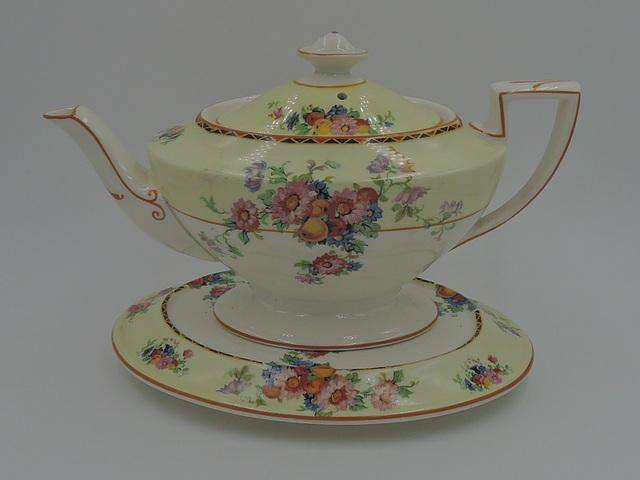 Vintage Crown Ducal Ware Teapot & Trivet Stand