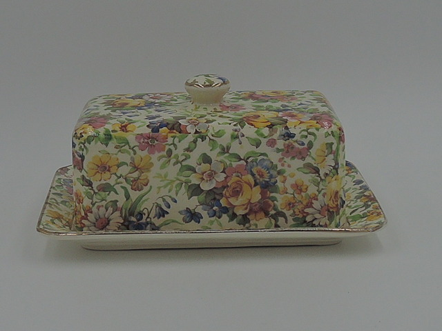 Vintage Royal Winton Chintz Bedale Covered Butter Dish