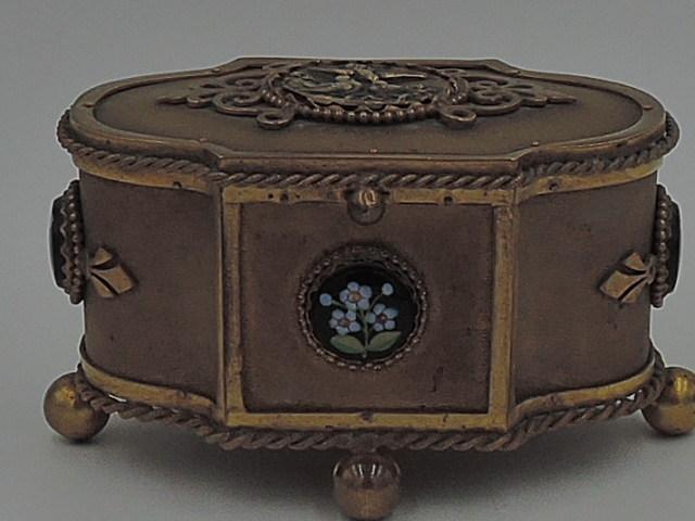 Antique French Gold Plated Ormolu w/Enamel Ladies Vanity Jewelry Box Guttin