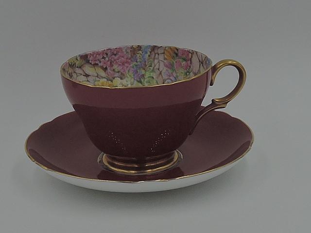 Vintage Shelley Burgundy Gold Chintz Rock Garden Cup & Saucer