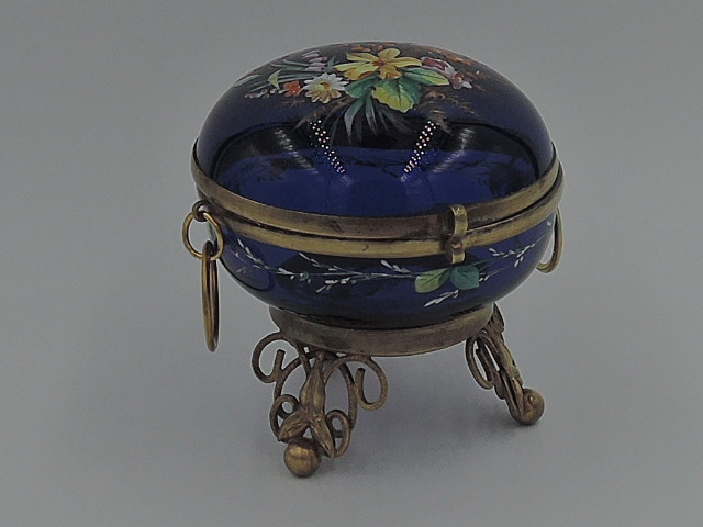 Large Antique French Ormolu Cobalt Blue Glass Hand Painted Enamel Jar/Box