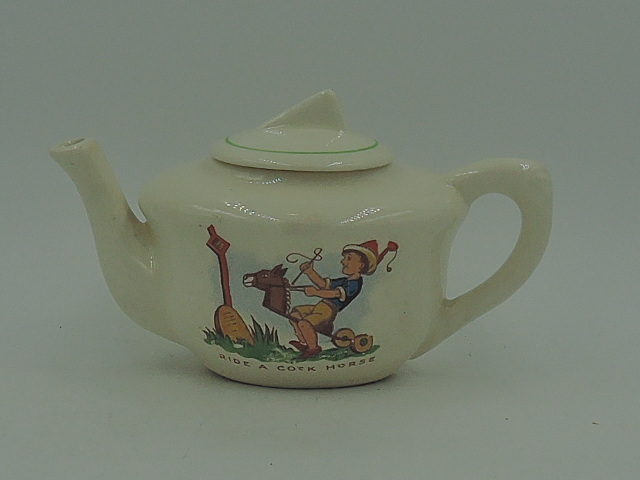 Vintage Ride A Cock Horse Child's Nursery Rhyme Teapot