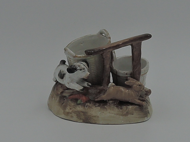 Antique German Fairing Conta & Boehme Dog chasing Rabbit Figurine 1880's Match Striker