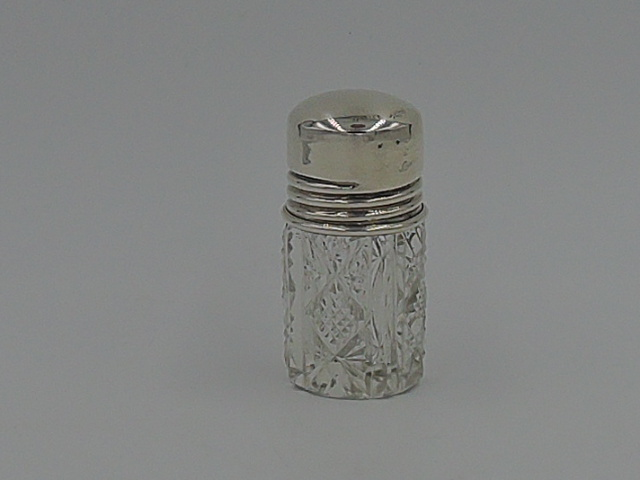 Antique Sterling Silver Lid & Cut Glass Petite Perfume Bottle w/Dabber Stopper
