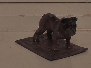 Vintage Cast Metal Copper Wash Painted Petite Bulldog on Carpet Figurine