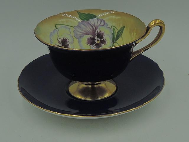 Rare Antique Shelley Purple Pansy Cup & Saucer Gold Rim