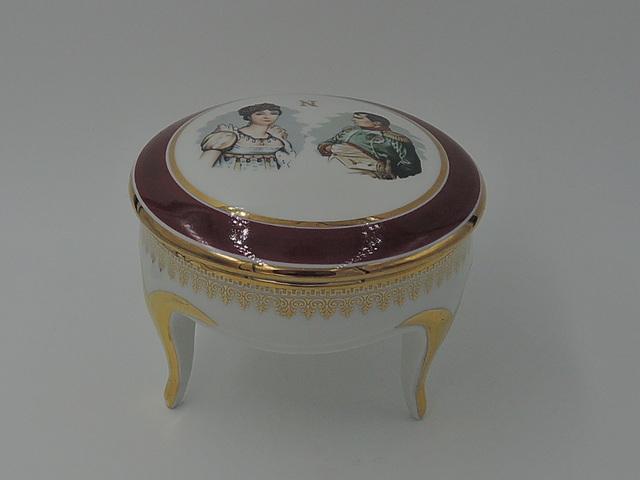 Vintage French Porcelaine De Luxe Napoleon & Josephine Ladies Vanity Jar Dish