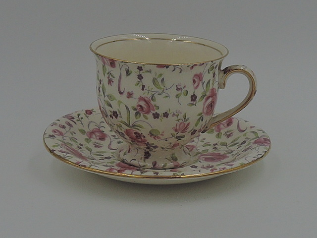 Vintage Royal Winton Chintz Rose Dubarry Petite Cup & Saucer Teacup