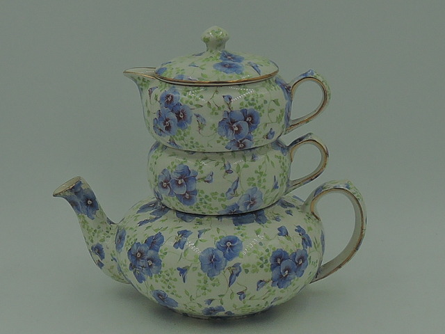 Beautiful Lord Nelson Chintz Pansy Stacking Teapot Tea For One