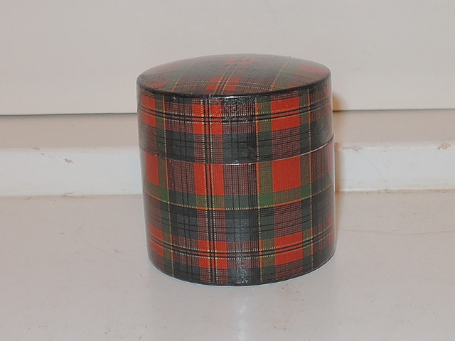 Antique 19th C. Scottish McPherson Tartan Plaid Box Tartanware