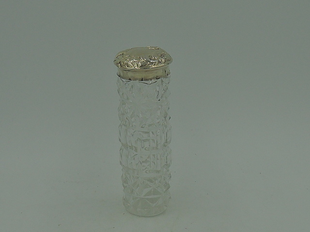 Antique Edwardian Sterling Silver Lid & Cut Glass Ladies Vanity Jar London 1903