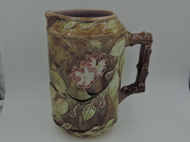Antique Large Majolica Pink Dogwood Water Pitcher 1880's
