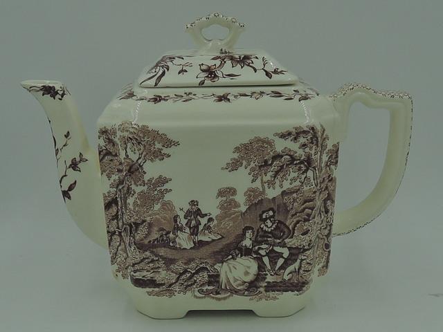 Masons Ironstone Brown Watteau Teapot Transferware