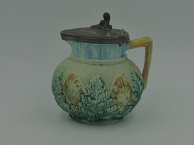 Antique Majolica Fern & Leaf w/Pewter Lid Syrup Pitcher