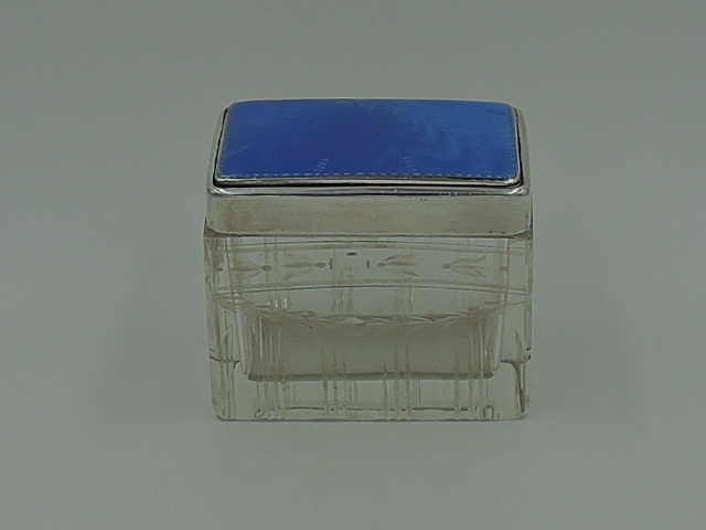 Gorgeous Vintage English Blue Enamel Guilloche Sterling Silver Lid & Cut Glass Vanity Box 1928