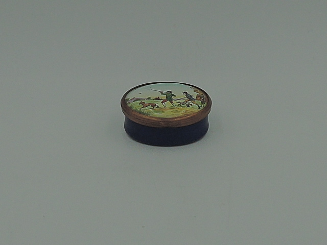 Vintage Bilston & Battersea Enamel Blue Pill/Snuff Box w/Hunting Dog Horse Halcyon Days
