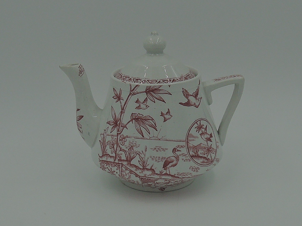 Antique E M & Co Tonquin Child's Red Transferware Teapot w/Birds c.1873-1903