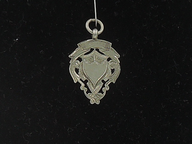 Vintage English Sterling Silver Reticulated Fob Medal Pin Birmingham 1938