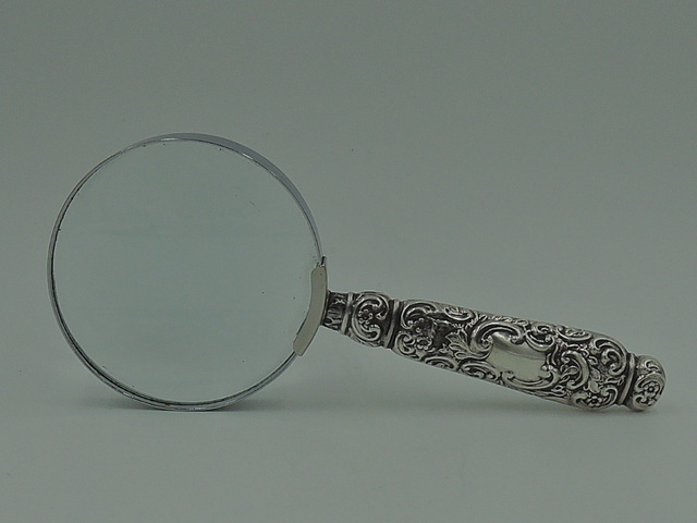 Large Antique Sterling Silver Ornate Handle Magnifying Glass Hallmarked 1901