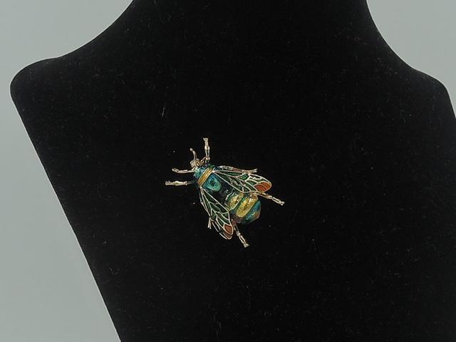 Vintage Enamel Colorful Bee Green Gold Brooch Pin