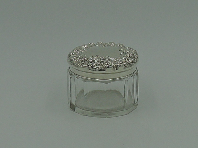 Sterling Silver Repousse Lid & 10 sided Glass Vanity Jar/Box