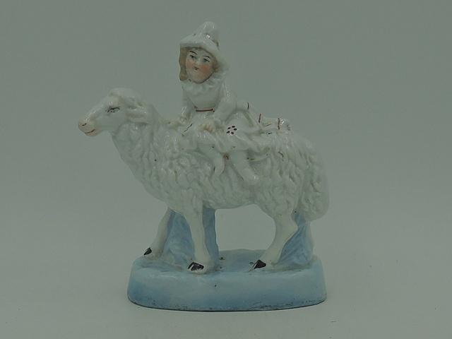 Antique Victorian Staffordshire Girl & Sheep Figurine Statue