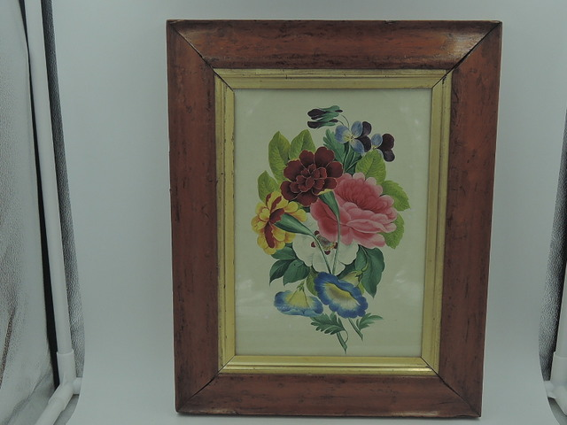 Antique 19th C. English Watercolor On Board Maple Frame Botanical Painting Picture