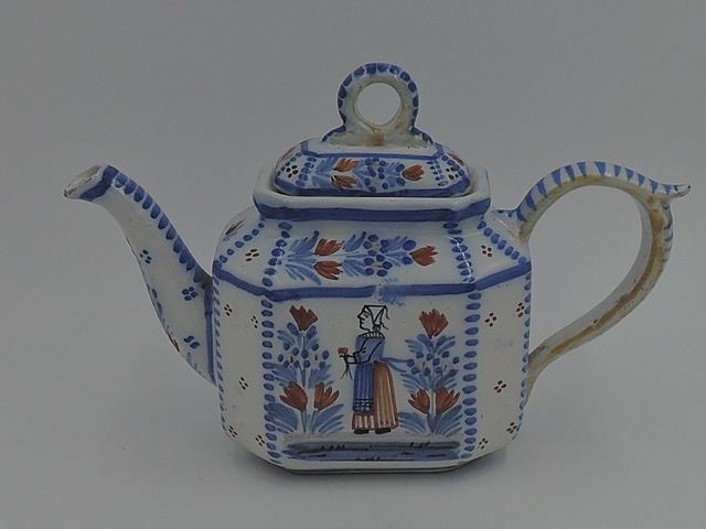 Antique Henriot Quimper Blue & White Breton Couple Petite Teapot Pottery