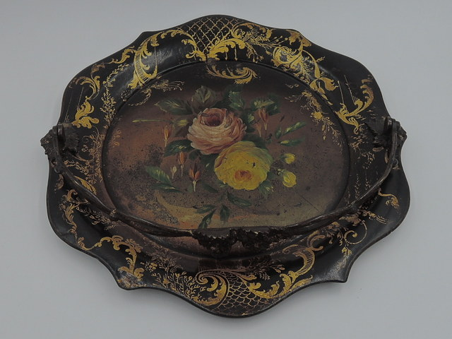 Antique Victorian Paper Mache Black Lacquer Brides Basket w/Brass Handle Pink Roses