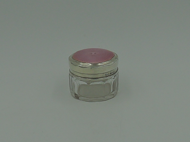 Beautiful English Sterling Silver & Pink Guilloche Enamel Lid & Glass Vanity Jar 1920
