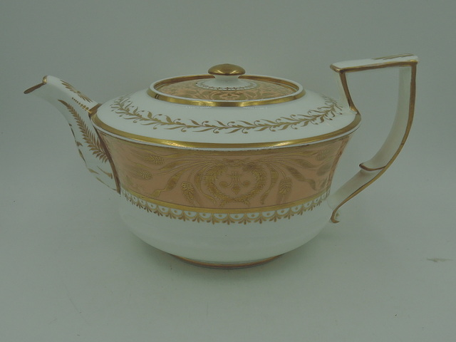 Rare Antique Spode Felspar Peach Gold Porcelain Teapot 1815-1830