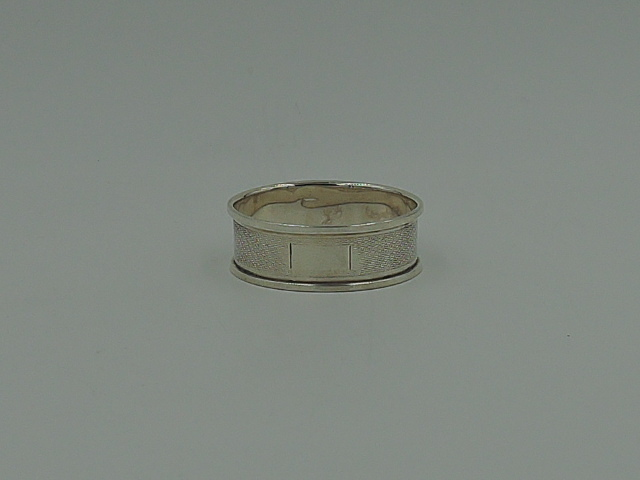 Vintage English Sterling Silver Oval Napkin Ring Blank Cartouche Birmingham