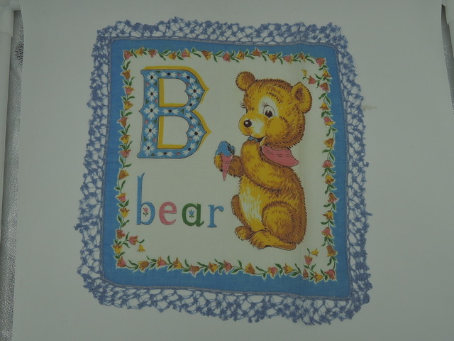 Vintage Childs Blue B Bear Handkerchief Blue Lace Darling
