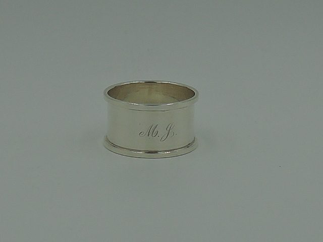 Vintage English Sterling Silver Napkin Ring Monogram M.J. Hallmarked 1946