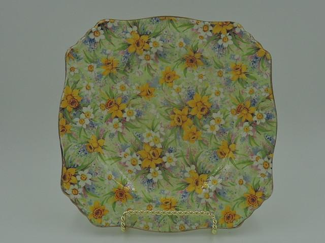 "Vintage Royal Winton Chintz Richmond 7"" Square Plate Daffodils"