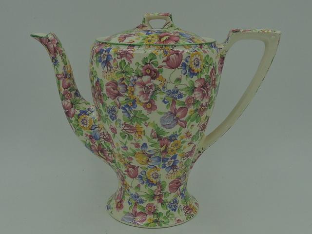 Stunning Vintage Myott Staffordshire Chintz Teapot Coffee Pot Irises